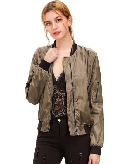 Army Green Long Sleeve Zipper Pockets Jacket