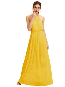 Yellow Sleeveless Halterneck Pleated Infinity Maxi Dress