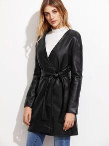 Black Self Tie PU Trench Coat
