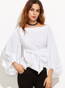 White Lantern Sleeve Top With Bow