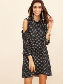Black Polka Dot Open Shoulder Keyhole Back Ruffle Dress