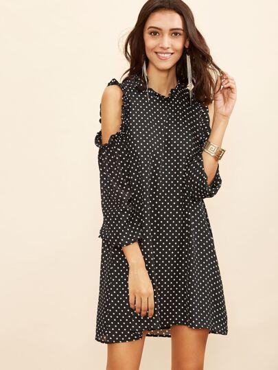 Black Polka Dot Open Shoulder Keyhole Back Ruffle Dress