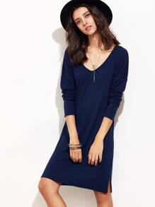 Vestido manga larga con hombro caído y abertura lateral - azul marino