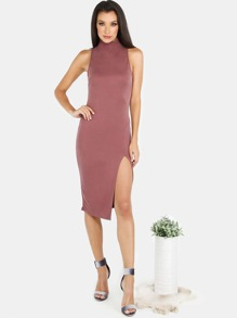 Sleeveless Mock Neck Slit Bodycon Dress MARSALA