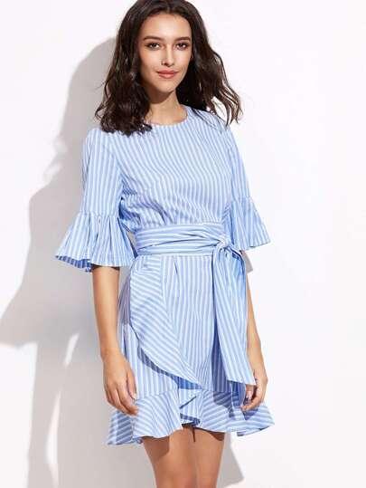 Blue Vertical Striped Belted Ruffle Dress