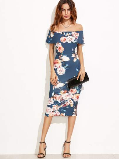 Calico Print Scalloped Trim Bardot Dress