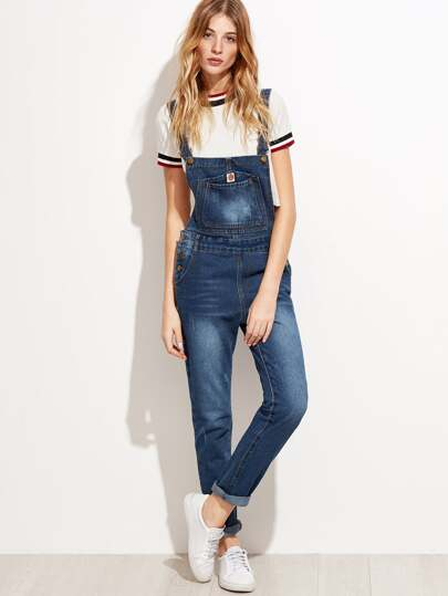 Bleach Wash Denim Dungarees