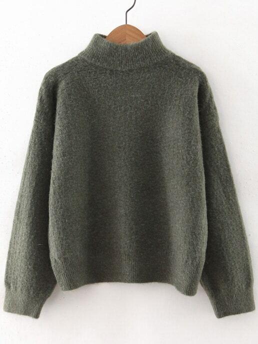 Фото Army Green Turtleneck Drop Shoulder Sweater. Купить с доставкой