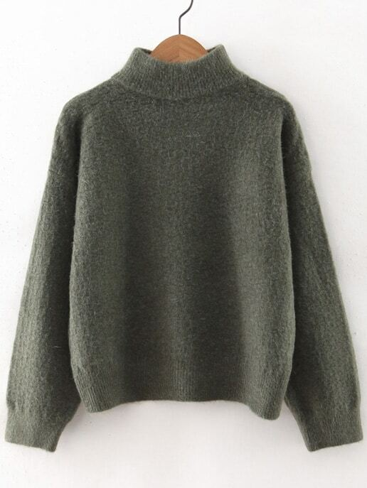 Army Green Turtleneck Drop Shoulder Sweater sweater160923214
