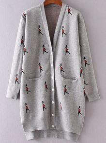 Grey Soldier Pattern Side Slit Dip Hem Button Up Cardigan