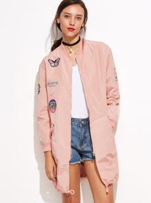 Pink Long Sleeve Pocket Jacket