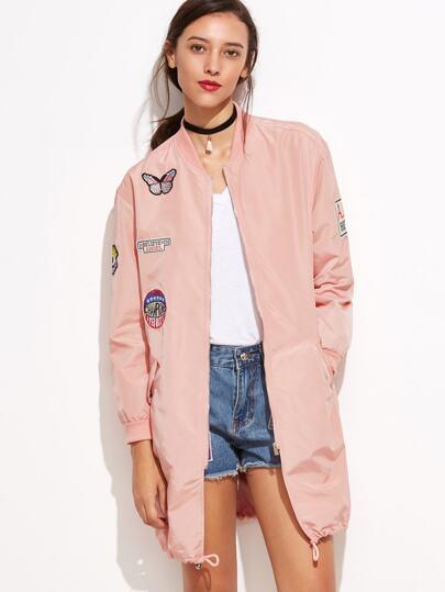 Band Collar Embroidered Pockets Elasticized Trim Jacket