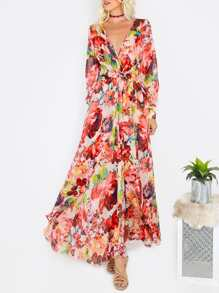 Flower Print Plunging V-Neck Full Length Dress