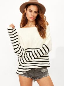White Striped Boat Neck Ribbed Sweater