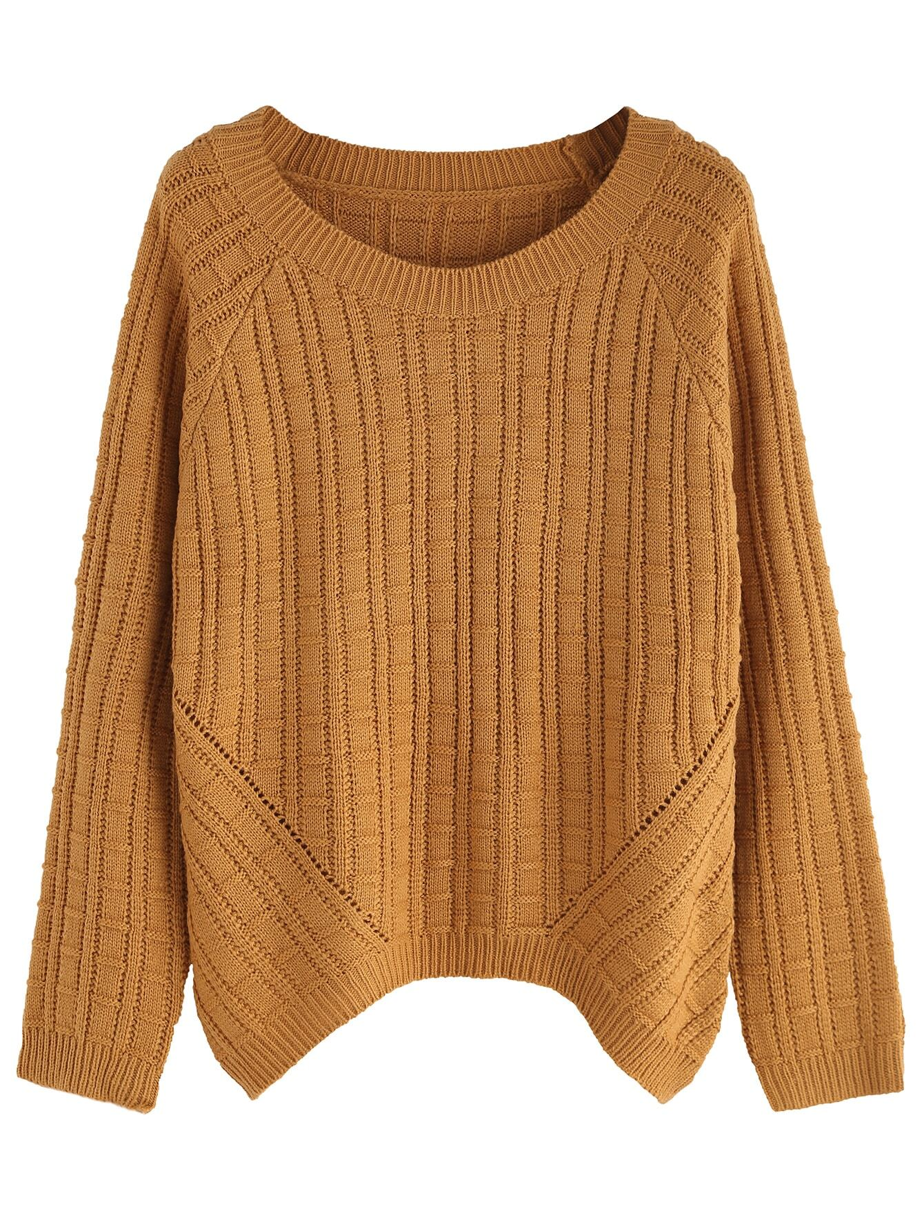 Khaki Ribbed Knit Raglan Sleeve Sweater sweater160915002