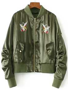 Army Green Eagle Embroidery Bomber Jacket
