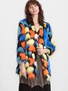 Cappotto Di Pelliccia Sintetica Senza Collare - Multicolore