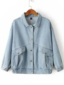 Blue Patch Detail Denim Jacket With Pockets