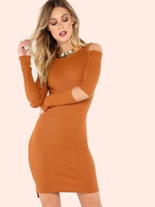 Cold Shoulder Elbow Cutout Rib Knit Dress COGNAC