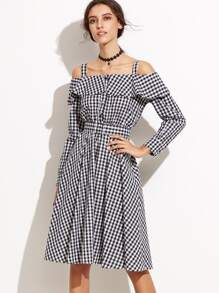 Check Plaid Cold Shoulder Ruffle A-Line Dress With Belt