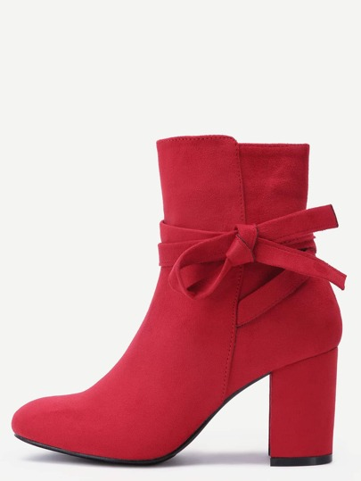 Red Suede Tie Detail Boots