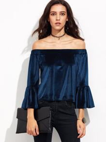 Blue Off The Shoulder Bell Sleeve Velvet Blouse