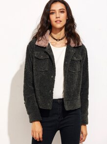 Color Block Pocket Front Fluffy Jacket