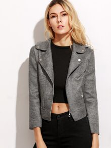 Grey High Low Lapel Zip Up Jacket