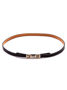 Black Hollow Metal Bow Skinny Belt