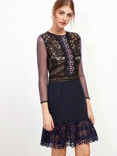 Contrast Mesh Crochet Trim Hollow Out Zipper Dress