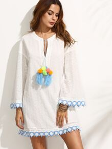 White Tassel Tie Neck Contrast Trim Eyelet Embroidered Dress