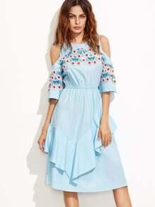 Blue Crochet Applique Open Shoulder Ruffle Dress