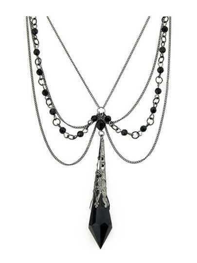 Handmade Black Main Stone Gothic Necklace
