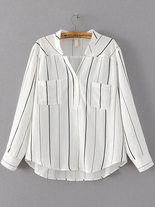 White Vertical Striped Dip Hem Blouse blouse160913201