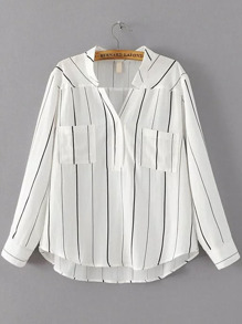 White Vertical Striped Dip Hem Blouse