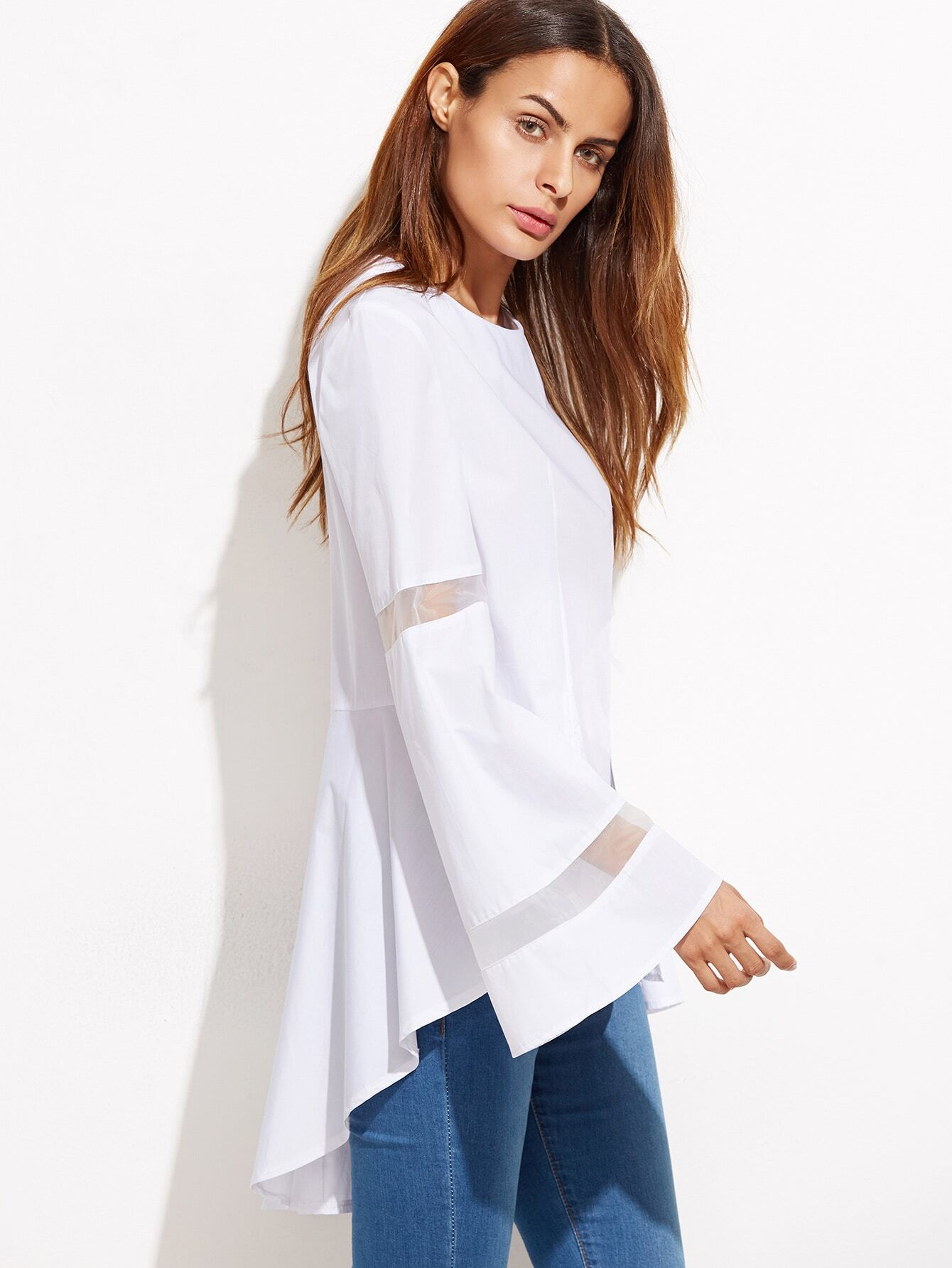 White Bell Sleeve High Low Mesh Insert TopWhite Bell Sleeve High Low Mesh Insert Top<br><br>color: White<br>size: one-size