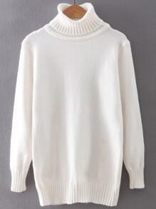 White Turtleneck Ribbed Trim Sweater