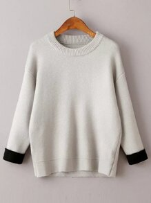 Grey Drop Shoulder Contrast Cuff Sweater