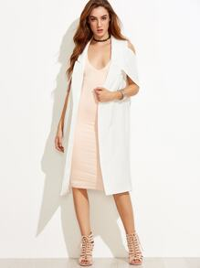 White Lapel Sleeveless Outerwear