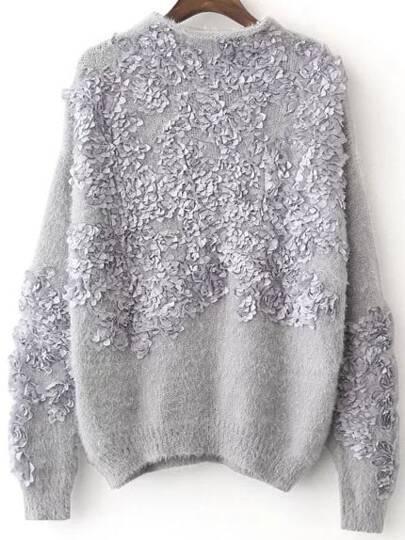Grey Flower Detail Drop Shoulder Mohair Sweater