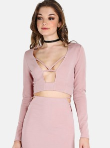 Plunging Bar Strap Sleeved Crop Top MAUVE