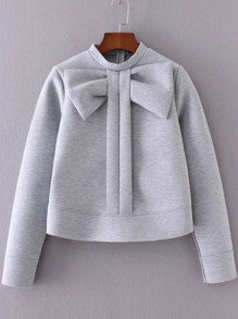 Bow Embellished Crew Neck Sweatshirt
