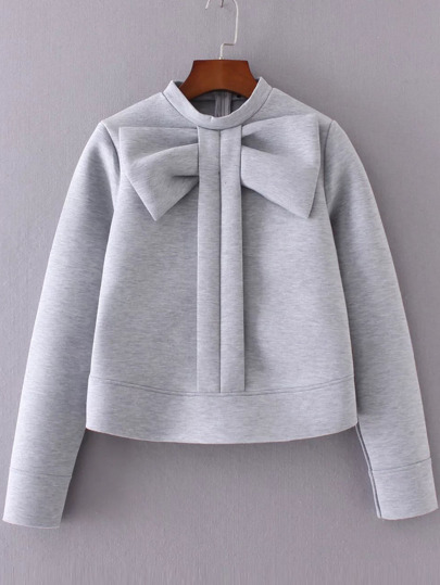 Grey Bow Embellished Crew Neck Sweatshirt