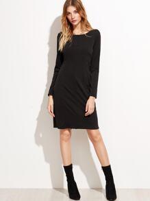Black V Neck Slit Front Zipper Sheath Dress