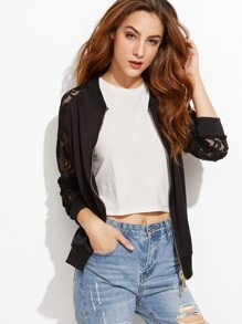 Black Lace Raglan Sleeve Jacket