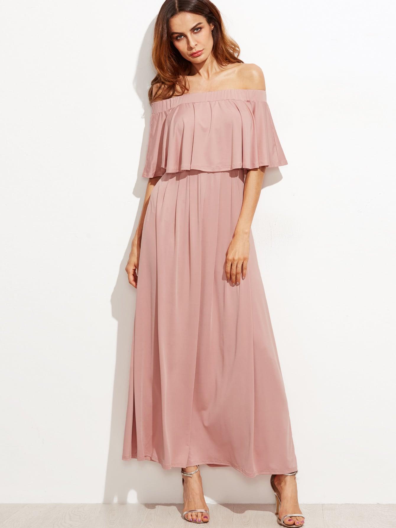 Flounce Layered Neckline Dress