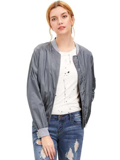 Grey Long Sleeve Zipper Pockets Jacket