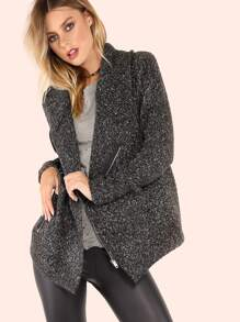 Peppered Knit Cowl Lapel Zip Up Jacket BLACK