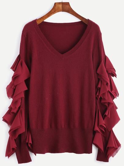 Burgundy V Neck Splicing Chiffon Ruffle Sweater