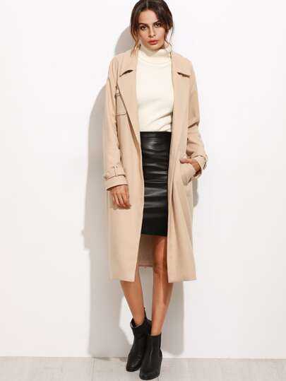 Self Tie Longline Coat With Chest Pocket